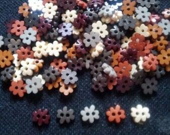 100 pcs - Cute flower button size 9mm earth tone