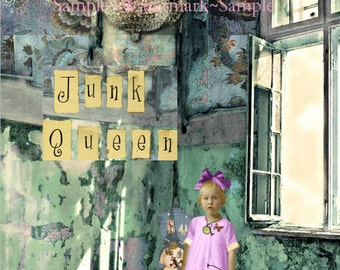Junk Queen-Blank Quality greeting card for the obsessive junker in your life! (41/4x51/2- A2)