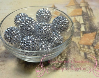 20mm Silver Rhinestone Beads Qty 8