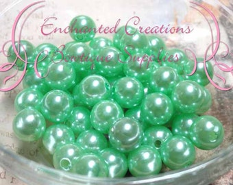 10mm Mint Green Acrylic Pearl Beads Qty 50