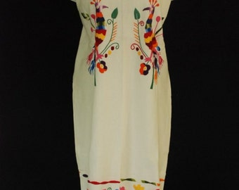 Mexican White Dress Four Fantastic Peacock Birds Handmade Embroidered Colorful Summer S/M/L