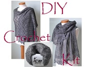 DIY Crochet Kit, Crochet shawl kit, IZUMI, DARK grey, yarn and pattern