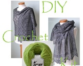 DIY Crochet Kit, Crochet shawl kit, IZUMI, Catepillar green, yarn and pattern