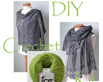DIY Crochet Kit, Crochet shawl kit, IZUMI, Catepillar green, yarn and pattern