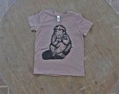 Sloth Playing the Ukulele T-Shirt / Hipster Tee / Organic American Apparel soft brown color Tee for Kids
