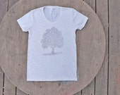 Tree of Life Design on American Apparel Women's Tee in Heather Oatmeal Cream Color