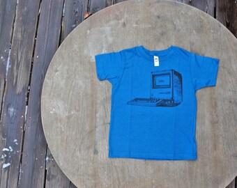 Imac Computer T-Shirt Vintage Design American Apparel Organic Unisex Tee in Galaxy Blue for Kids