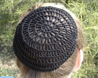 Hair Net / Bun Cover Sz Large Crocheted Traditional Net Black, Brown, Natural, White