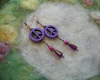 Purple Haze Peace Earrings with Glass Pearls and Lucite Gem