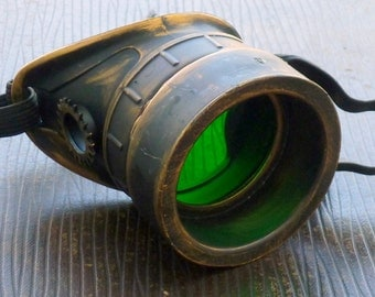 Steampunk goggles monocle eyepatch costume biker glasses green  lens cyber gothic