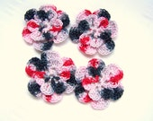 Appliques hand crocheted flowers set of 4 cupid II cotton 1.5 inch