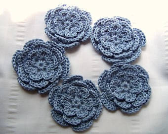 Crocheted flowers motif 3 inch applique blue set of 5