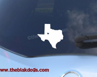 Texas State Silhouette with heart, Custom vinyl sticker, car decal