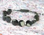 SALE-Black Onix  and sterling silver  bracelet