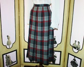 Vintage Wool Pleated Plaid Skirt by IMagnin in Red, Gray and Black. Large.