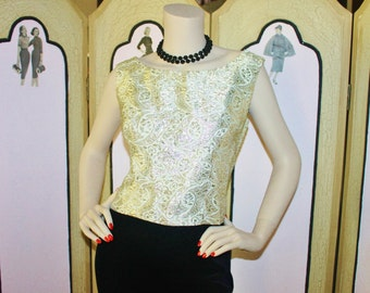 1960's 14kt Gold Metallic Vintage Cocktail Top. Small.