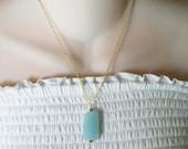 Minimalist necklace, large pendant, blue quartz pendant, blue jewelry, gold chain
