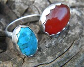 Floating stones double ring in summer colors - size 8