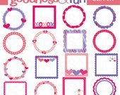 Buy 2, Get 1 FREE - Valentine's Day Frames Clipart - Digital Valentine Clipart - Instant Download