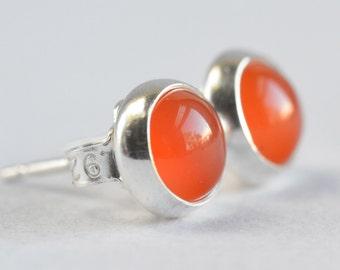 orange carnelian 6mm sterling silver stud earrings pair