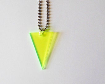 Triangle Necklace in Neon Green Fluorescent Acrylic, Geometric Shape Statement Jewelry