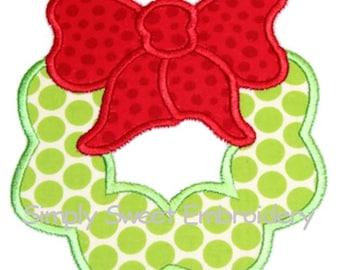 Christmas Wreath Machine Embroidery Applique Design