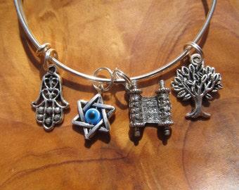 BAT MITZVAH - Adjustable Bangle- Hanukkah, Bat Mitzvah with Torah, Tree of Life, Chai with Evil Eye and Hamsa