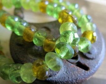 NEW Spring Mix . CZECH Faceted Glass Beads (30) 3 by 5 mm