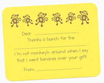 Monkey Fill in the Blank Thank You Cards - Monkey Birthday Party Cards, Jungle Birthday Party Cards, Monkey Thank Yous, Easy Kids Thank Yous