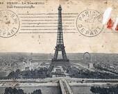 Vintage PARIS EIFFEL TOWER Postcard Image Printed on Totally Cotton Shirt