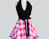 Sexy Womens Halter Apron - Red and White Gingham Check with Black Halter Top Sexy Cute Flirty Vintage Style Womens Full Hostess Apron