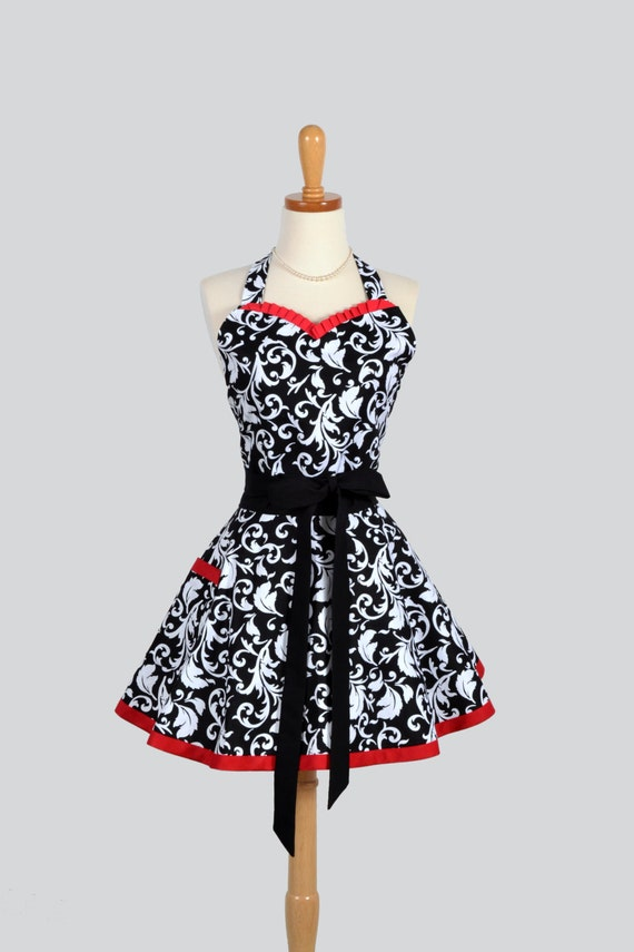 Sweetheart Retro Apron : Womens Retro Ruffles in Sexy Damask with Cherry Red and White Accents