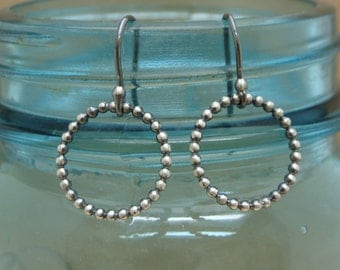 Sterling Silver Beaded Hoop Earrings--Oxidized Sterling Silver--Lightweight--Handcrafted