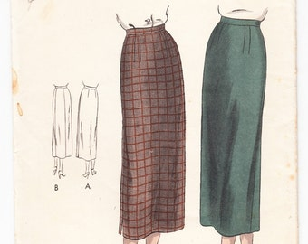 Vintage 1940s Vogue 6577 Sewing Pattern Misses Slim Skirt Size 28