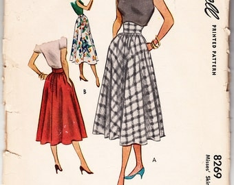 Vintage 1950 McCall 8269 Sewing Pattern Misses Skirt Size 24