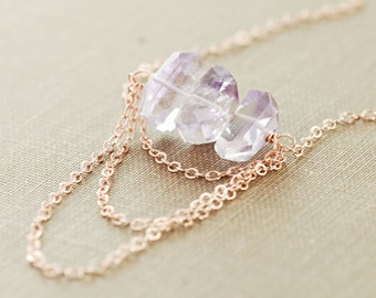 Pink Amethyst Rose Gold Necklace, Delicate Layered Statement Necklace, Gemstone Jewelry