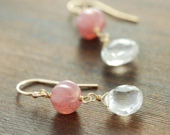 Pink Gold Beaded Gemstone Dangle Earrings, Valentine's Day Vintage Style Earrings