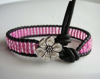 Pink Beaded Leather Bracelet