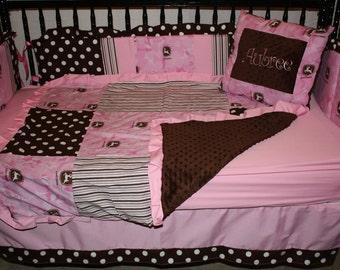 5 pc John deere stripe  pink camo  baby bedding- Free personalized pillow