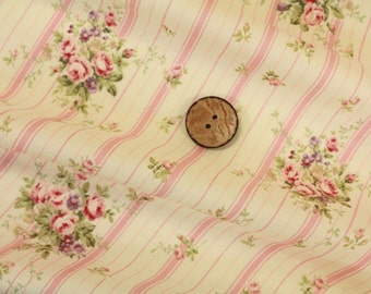 Yuwa Small Floral with Pink Stripes 816921A Cotton Fabric
