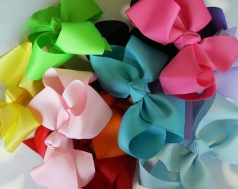 Color Hair Bows - Infant / Toddler Bows 3 inch Bows