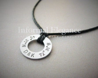Men's Necklace with abbreviated custom coordinates divided with 2 custom initials in between, Custom Stamped Aluminum Disk, Boyfriend Gift