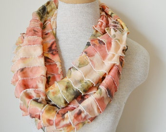 SALE - Peach Floral Ruffle Loop Infinity Scarf