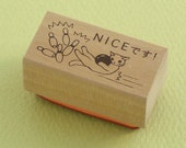 """Japanese Cat Wooden Rubber Stamp - Cat Playing Bowling Strike """"Nice"""" - Pottering Cat"""