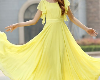 Yellow chiffon maxi wedding dress (919)