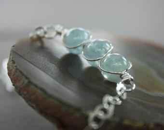 Pale blue aquamarine sterling silver necklace on chain - Beaded row necklace - Aquamarine necklace - Stone necklace - Bar necklace - NK004