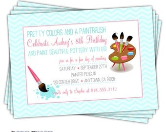 Pottery Painting Invitation • Painting Party Birthday Invite • Pottery Art Birthday Party Invitation • Painting Party - Audrey design