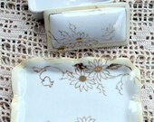 Vintage Nippon, Vanity Set,Handpainted porcelain,Cream border, 22K Gold Floral Design, Pin Dish, Ring Box,1916