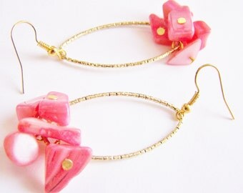 Fiji - Golden Hoops with Coral Shell - affordable gifts - beach inspired treasures - Sping - Summer - weddings - bridal - bridesmaid jewelry