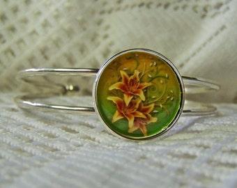 Tiger Lily Cuff Bracelet, Fire Lillies, Orange Lily & Green bracelet, Flower art cuff bracelet, , Adjustable Silver Bangle Cuff Bracelet